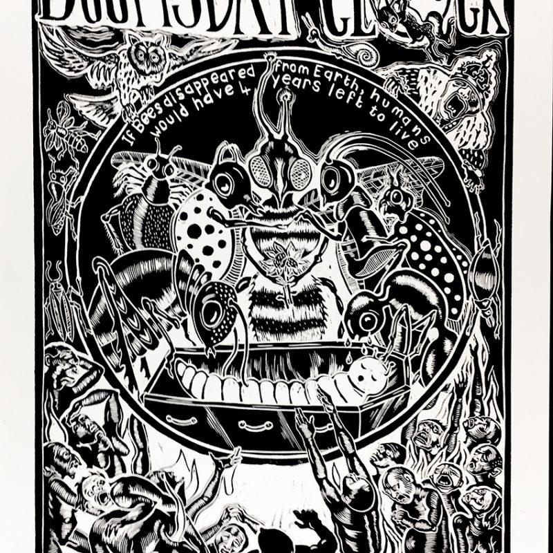 Sue Coe Doomsday Clock Linocut 20 X 15 Inches School Of Art